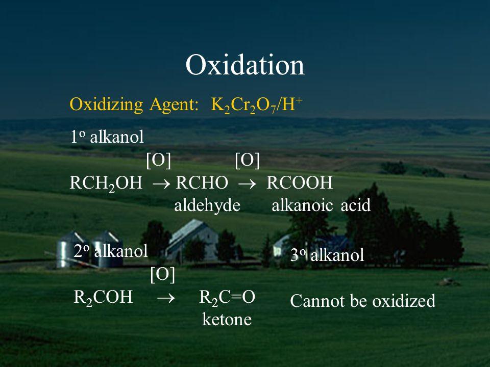 Oxidation 1 o alkanol [O] [O] RCH 2 OH RCHO RCOOH aldehyde alkanoic acid Oxidizing Agent: K 2 Cr 2 O 7 /H + 2 o alkanol [O] R 2 COH R 2 C=O ketone 3 o alkanol Cannot be oxidized