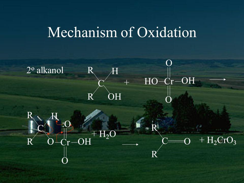 Mechanism of Oxidation 2 o alkanol R H C ROH + HOCr OH O O R H C RO Cr OH O :O + H 2 O R C R O + H 2 CrO 3