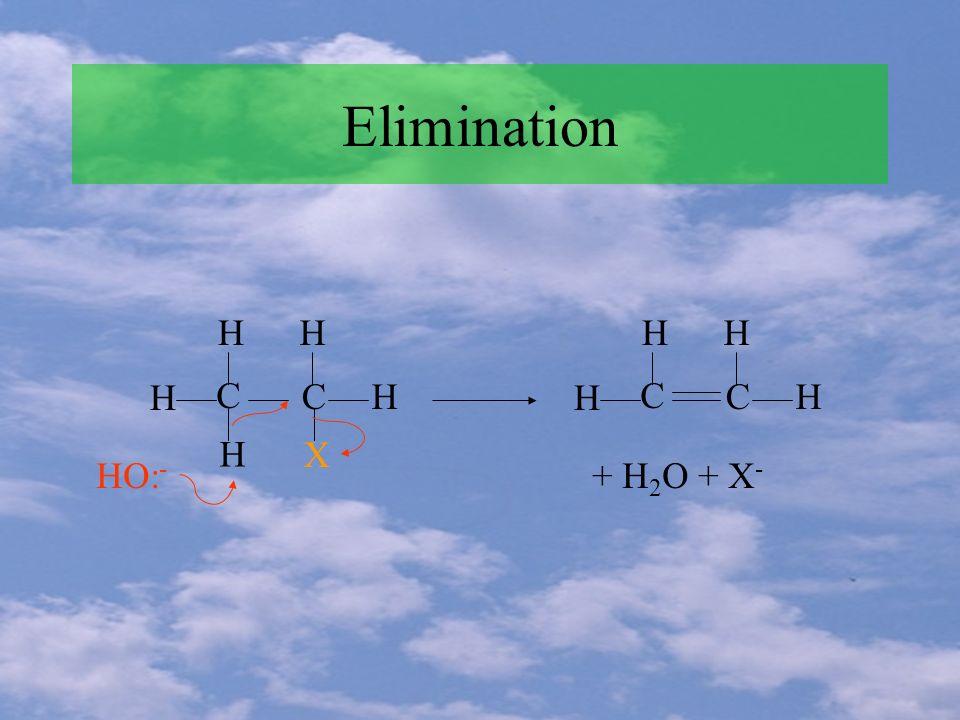 Elimination H H HH H C C X HO: - H HH H C C + H 2 O + X -