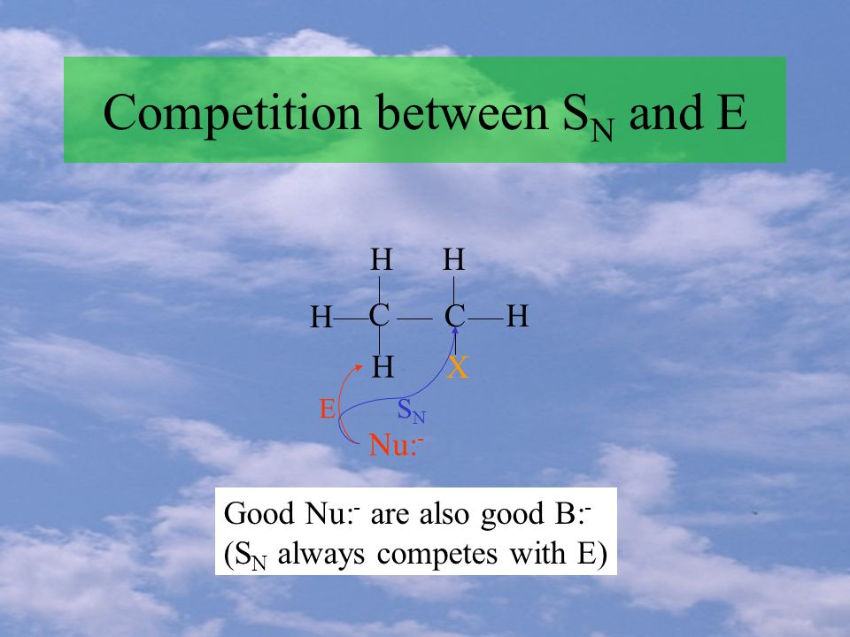 Competition between S N and E H H HH H C C X Nu: - ESNSN Good Nu: - are also good B: - (S N always competes with E)