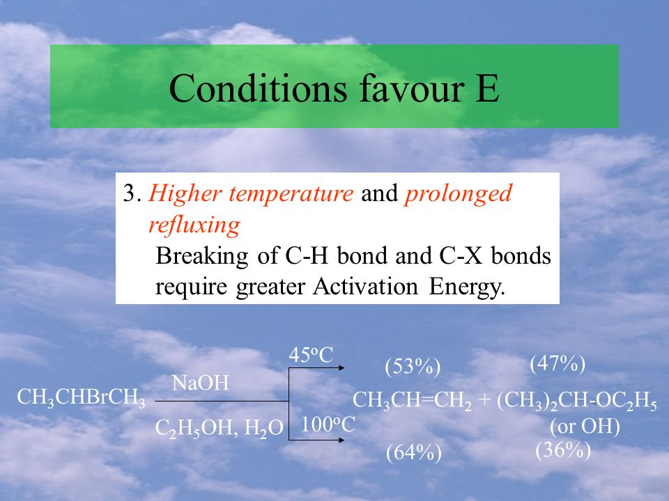 Conditions favour E 3. Higher temperature and prolonged refluxing Breaking of C-H bond and C-X bonds require greater Activation Energy. CH 3 CHBrCH 3