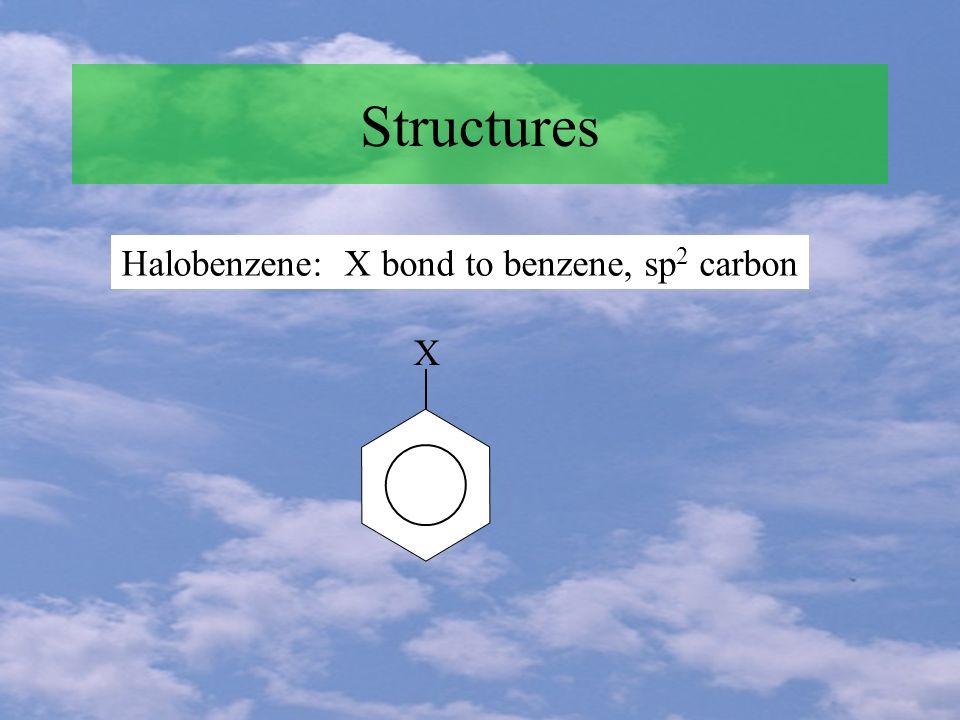 Structures Halobenzene: X bond to benzene, sp 2 carbon X