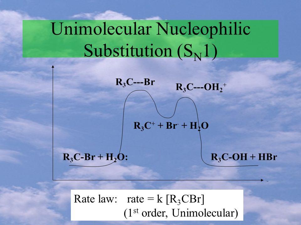 Unimolecular Nucleophilic Substitution (S N 1) R 3 C-Br + H 2 O:R 3 C-OH + HBr R 3 C + + Br - + H 2 O R 3 C---Br R 3 C---OH 2 + Rate law: rate = k [R