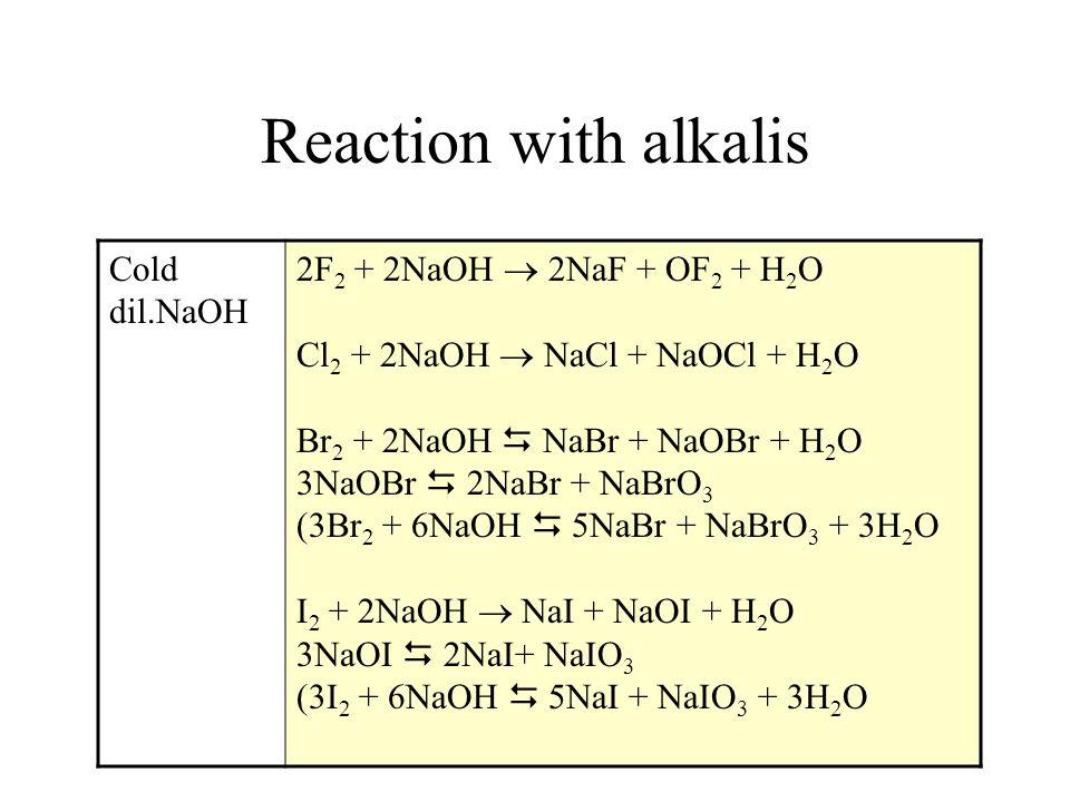 Reaction with alkalis Cold dil.NaOH 2F 2 + 2NaOH 2NaF + OF 2 + H 2 O Cl 2 + 2NaOH NaCl + NaOCl + H 2 O Br 2 + 2NaOH NaBr + NaOBr + H 2 O 3NaOBr 2NaBr