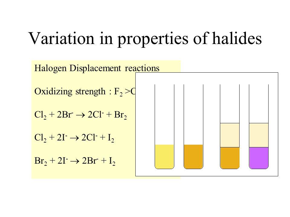 Halogen Displacement reactions Oxidizing strength : F 2 >Cl 2 >Br 2 >I 2 Cl 2 + 2Br - 2Cl - + Br 2 Cl 2 + 2I - 2Cl - + I 2 Br 2 + 2I - 2Br - + I 2 Var
