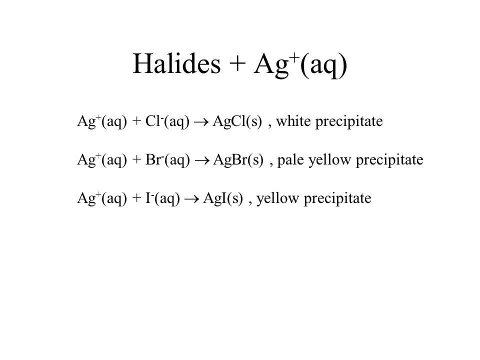 Halides + Ag + (aq) Ag + (aq) + Cl - (aq) AgCl(s), white precipitate Ag + (aq) + Br - (aq) AgBr(s), pale yellow precipitate Ag + (aq) + I - (aq) AgI(s