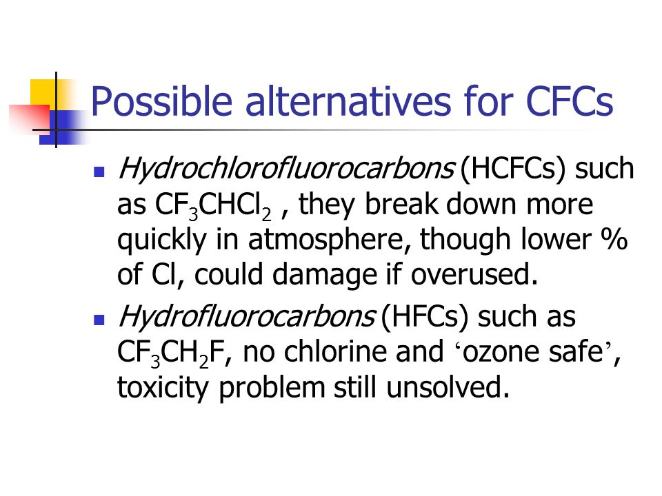 Possible alternatives for CFCs Hydrochlorofluorocarbons (HCFCs) such as CF 3 CHCl 2, they break down more quickly in atmosphere, though lower % of Cl,