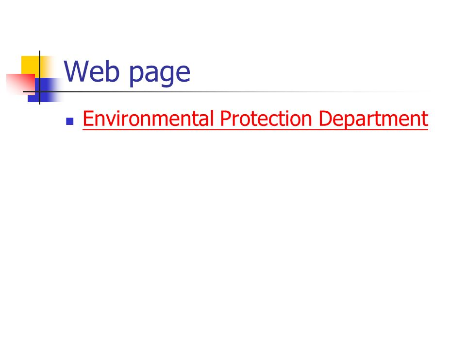Web page Environmental Protection Department