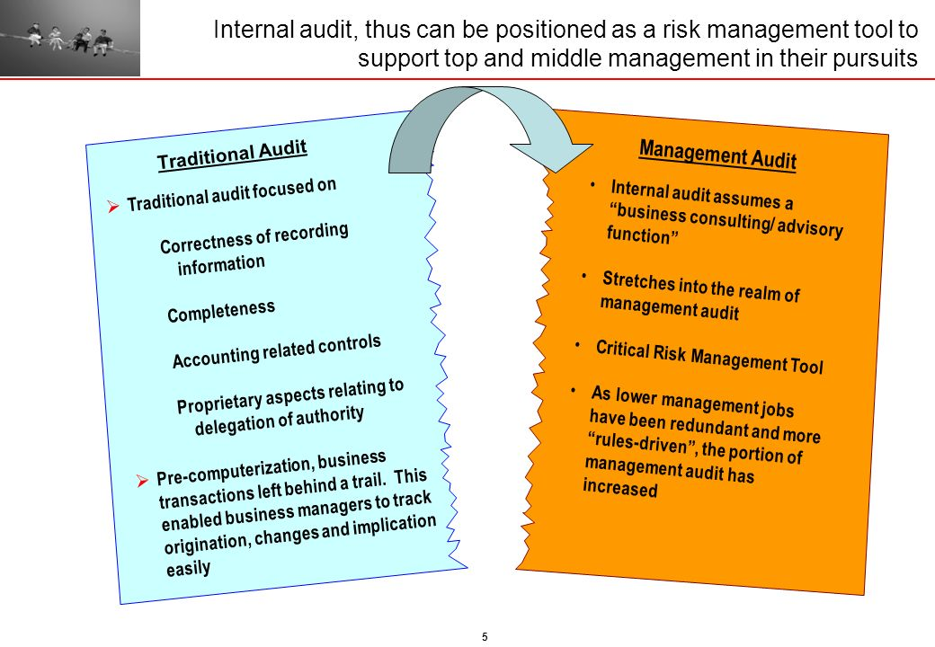 5 Internal audit, thus can be positioned as a risk management tool to support top and middle management in their pursuits Traditional audit focused on