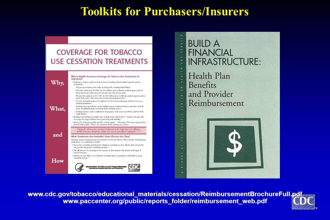 TM Toolkits for Purchasers/Insurers www.cdc.gov/tobacco/educational_materials/cessation/ReimbursementBrochureFull.pdf www.paccenter.org/public/reports