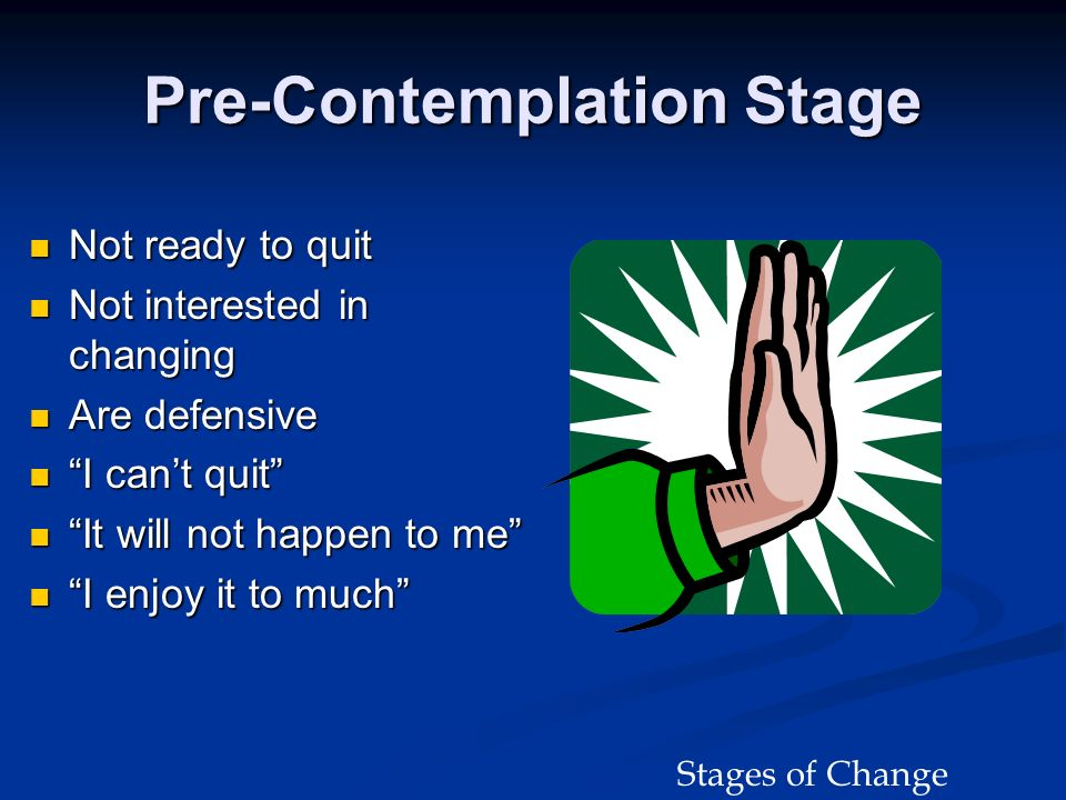 Pre-Contemplation Stage Not ready to quit Not ready to quit Not interested in changing Not interested in changing Are defensive Are defensive I cant q