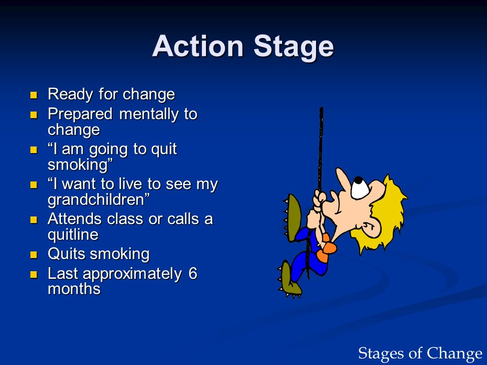 Action Stage Ready for change Ready for change Prepared mentally to change Prepared mentally to change I am going to quit smoking I am going to quit s