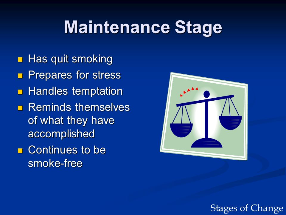 Maintenance Stage Has quit smoking Has quit smoking Prepares for stress Prepares for stress Handles temptation Handles temptation Reminds themselves o