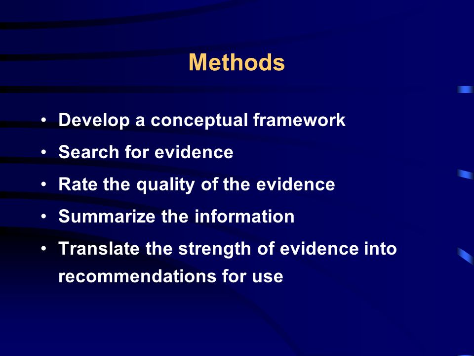 Methods Develop a conceptual framework Search for evidence Rate the quality of the evidence Summarize the information Translate the strength of evidence into recommendations for use