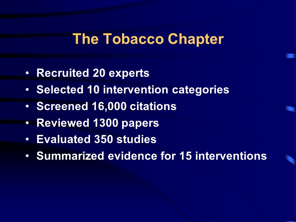 Interventions to Reduce Exposure to Environmental Tobacco Smoke Smoking Bans and Restrictions