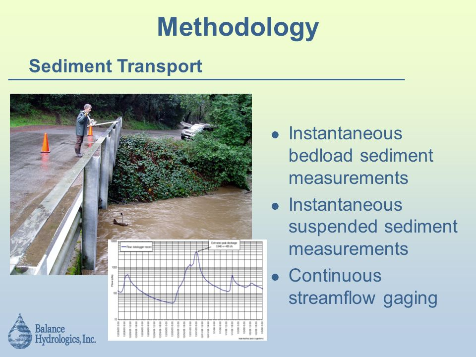 Methodology Sediment Transport Instantaneous bedload sediment measurements Instantaneous suspended sediment measurements Continuous streamflow gaging
