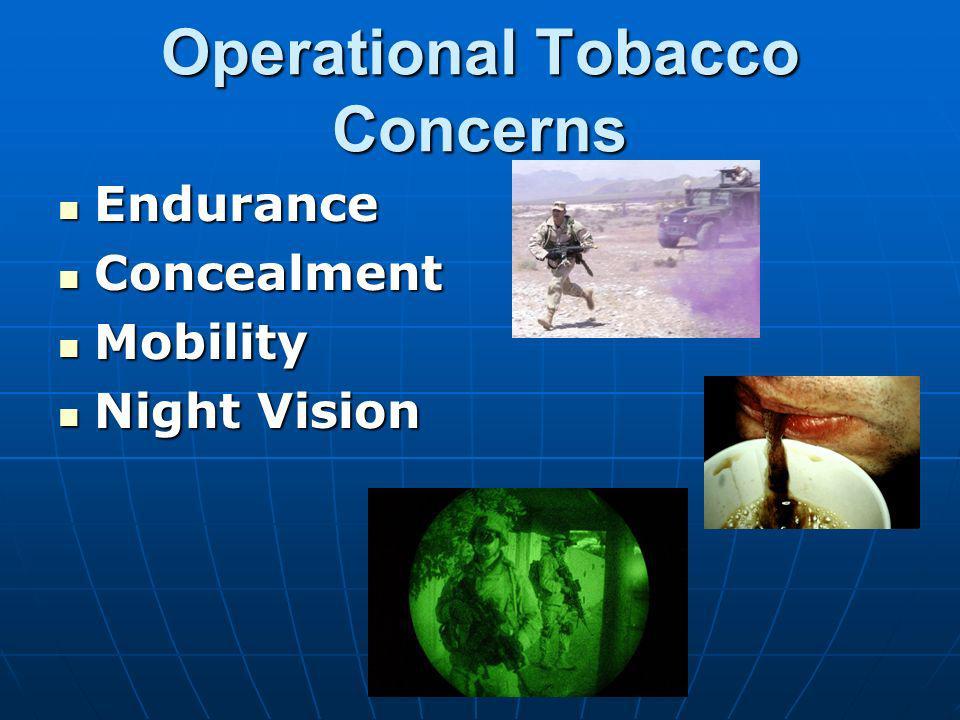 Operational Tobacco Concerns Endurance Endurance Concealment Concealment Mobility Mobility Night Vision Night Vision