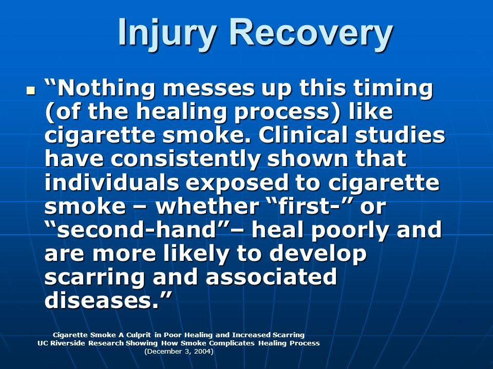 Injury Recovery Nothing messes up this timing (of the healing process) like cigarette smoke. Clinical studies have consistently shown that individuals