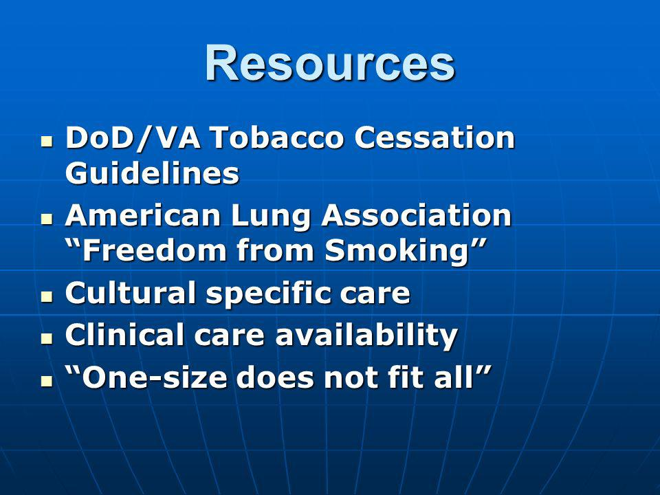 Resources DoD/VA Tobacco Cessation Guidelines DoD/VA Tobacco Cessation Guidelines American Lung Association Freedom from Smoking American Lung Associa