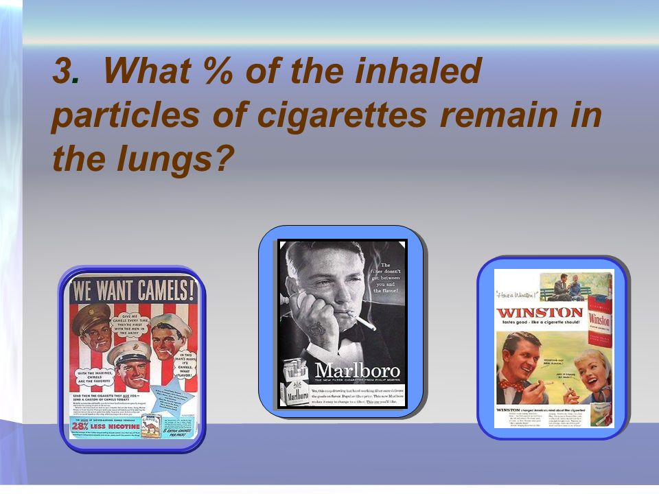 3. What % of the inhaled particles of cigarettes remain in the lungs?