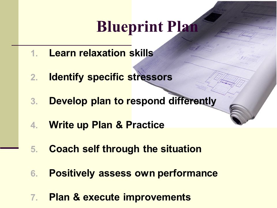 Blueprint Plan 1. Learn relaxation skills 2. Identify specific stressors 3.
