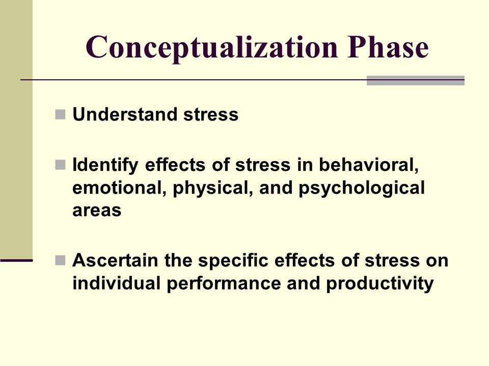 Conceptualization Phase Understand stress Identify effects of stress in behavioral, emotional, physical, and psychological areas Ascertain the specific effects of stress on individual performance and productivity