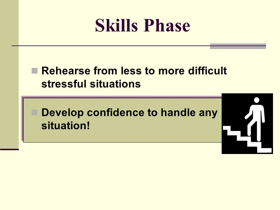 Develop Plan to Cope View the stressful situation as a chance to try new skills.