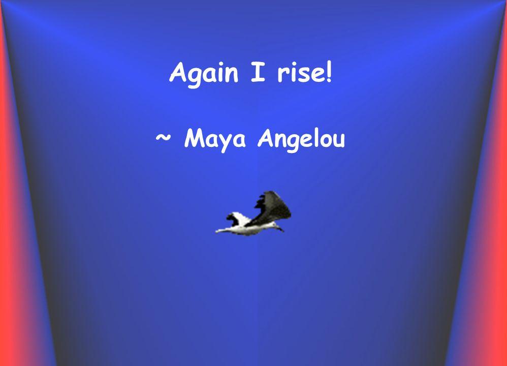 Again I rise! ~ Maya Angelou