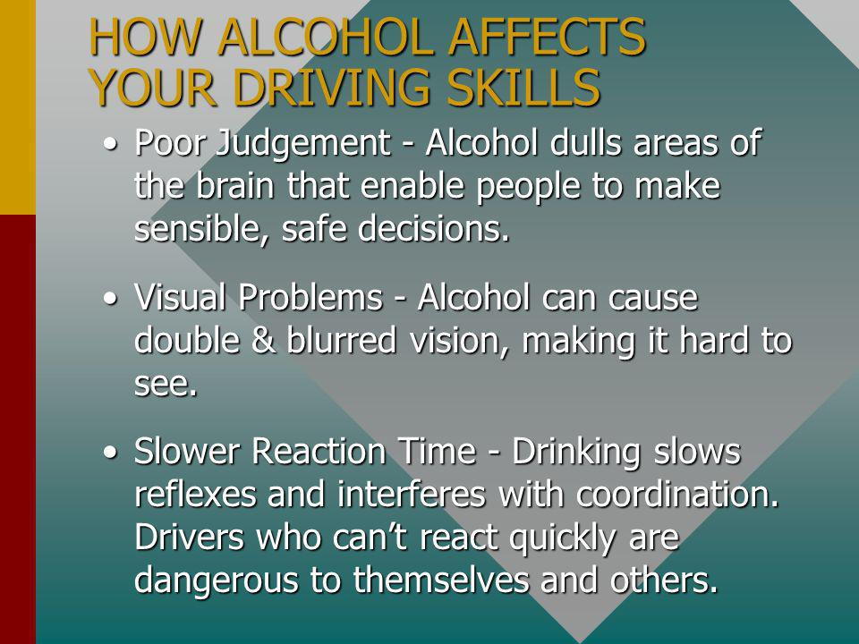 HOW ALCOHOL AFFECTS YOU PHYSICALLY Alcohol is absorbed quickly into the bloodstream.Alcohol is absorbed quickly into the bloodstream.