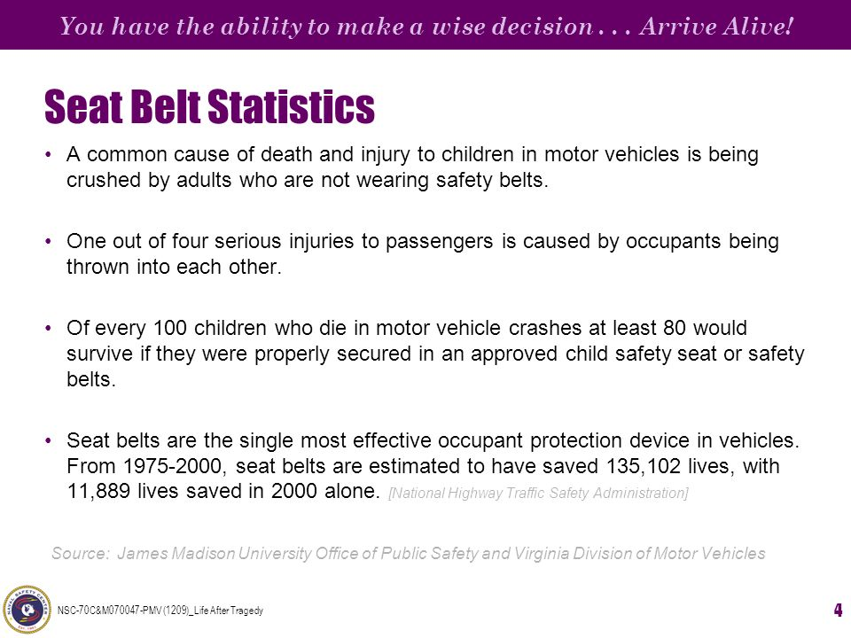 You have the ability to make a wise decision... Arrive Alive! NSC-70C&M070047-PMV (1209)_Life After Tragedy 4 Seat Belt Statistics A common cause of d