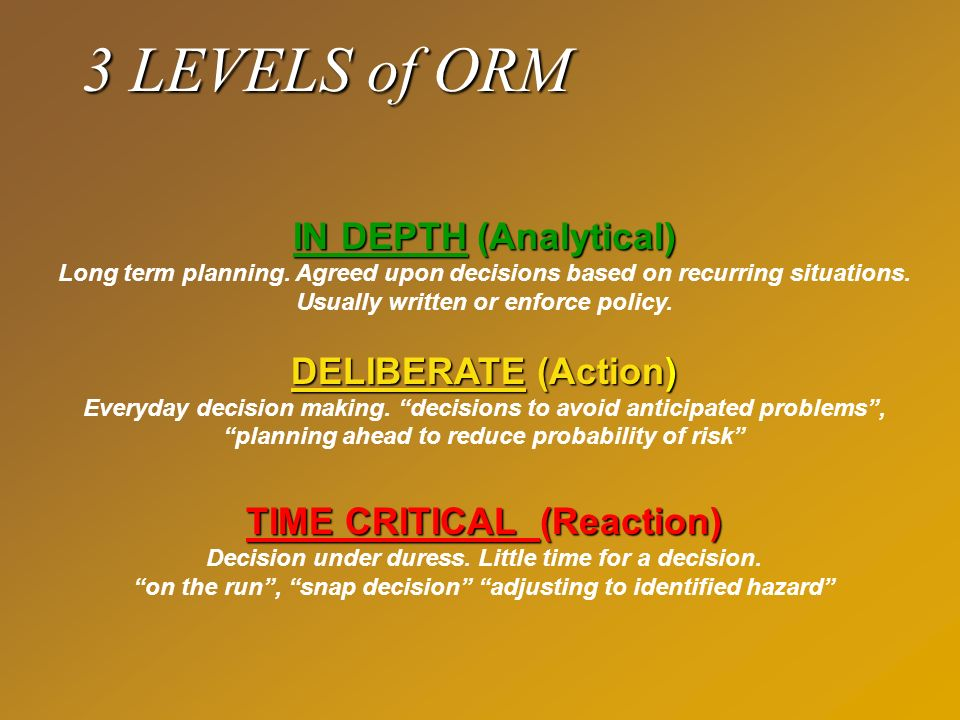 3 LEVELS of ORM TIME CRITICAL (Reaction) Decision under duress. Little time for a decision. on the run, snap decision adjusting to identified hazard D