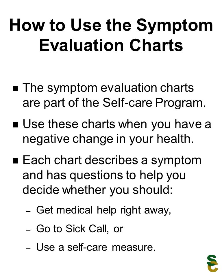 How to Use the Symptom Evaluation Charts The symptom evaluation charts are part of the Self-care Program. Use these charts when you have a negative ch