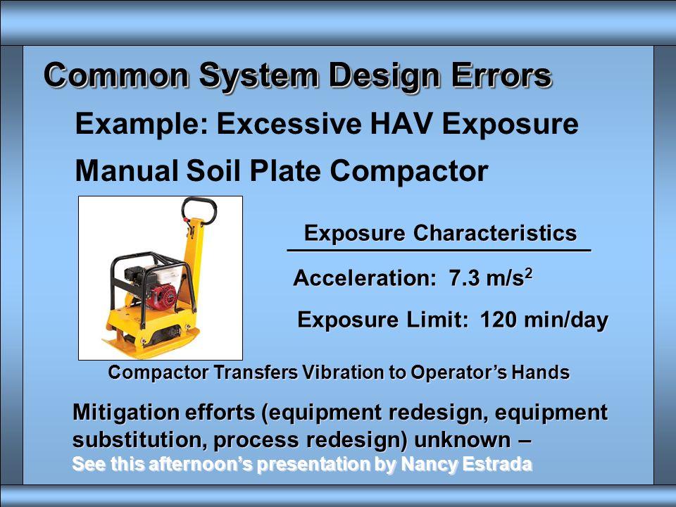 Common System Design Errors Extrinsic Mechanical Energy Exposure u Hand Arm Vibration (HAV) u Whole Body Vibration (WBV) u Jolt www.osha.gov/.../ hot_