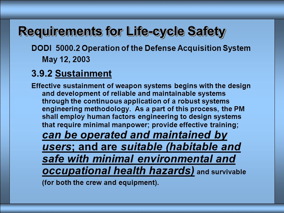 10% R&D 20-30% Procurement 60-70% Operations, Maintenance & Disposal This can be the disposal end Typical Life Cycle Costs in Acquisition Concept Refi