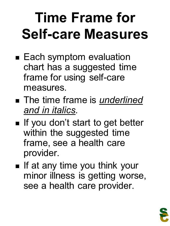 Time Frame for Self-care Measures Each symptom evaluation chart has a suggested time frame for using self-care measures. The time frame is underlined