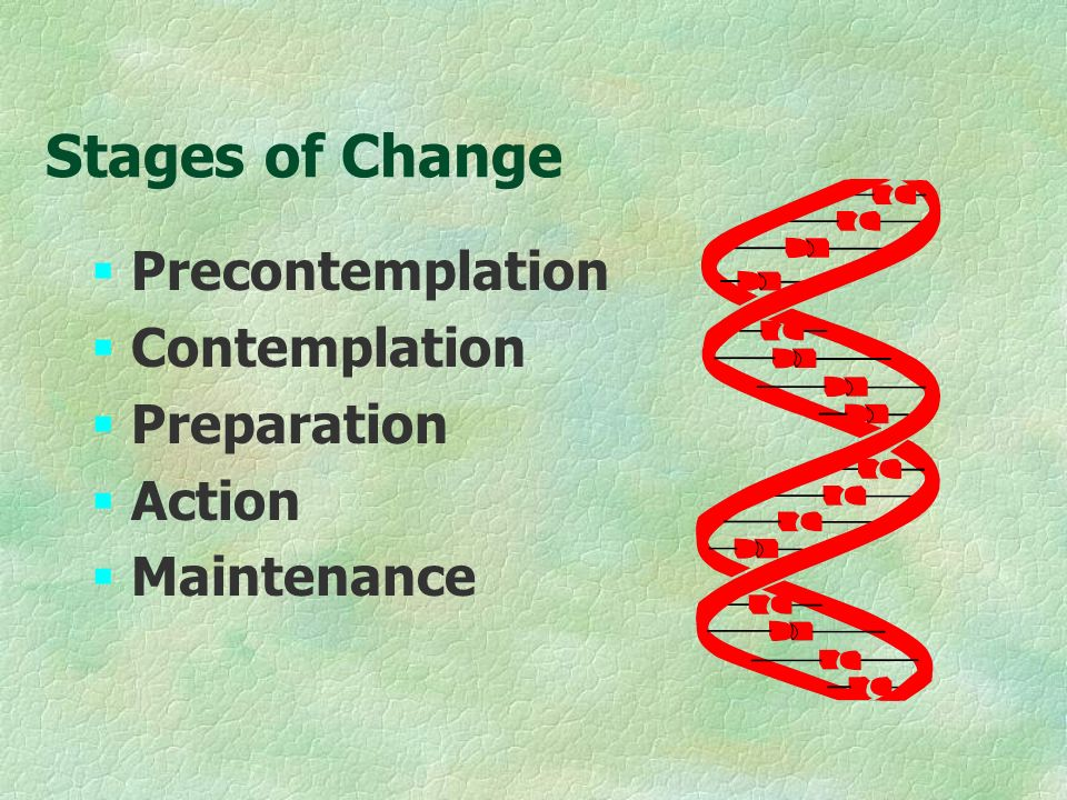 Stages of Change §Precontemplation §Contemplation §Preparation §Action §Maintenance