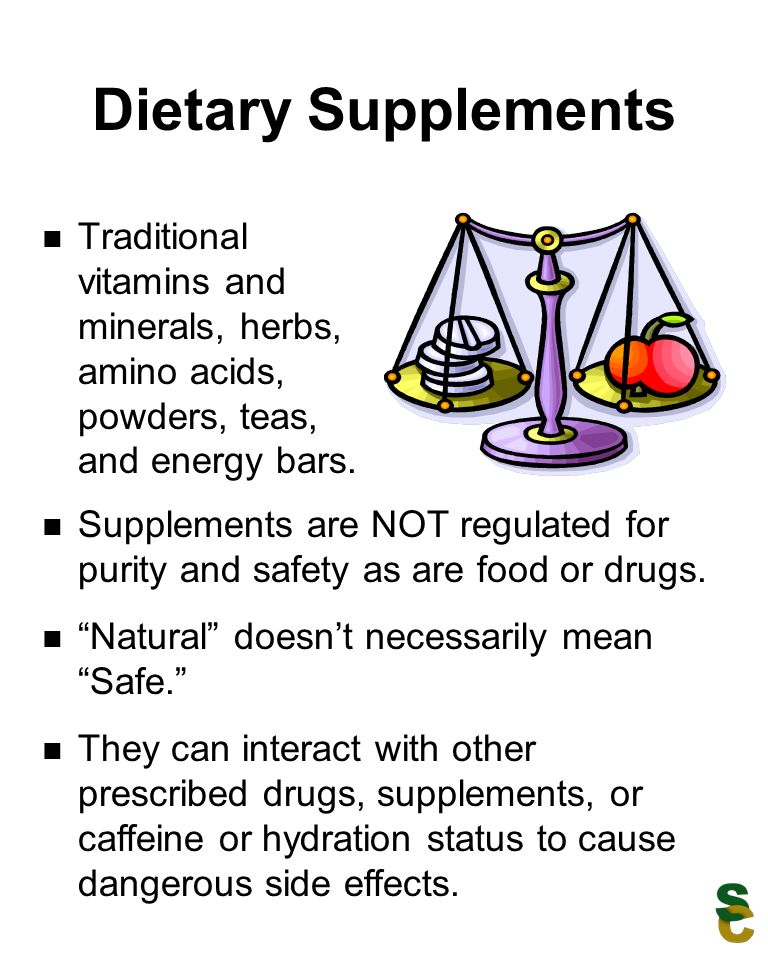 Dietary Supplements Traditional vitamins and minerals, herbs, amino acids, powders, teas, and energy bars.