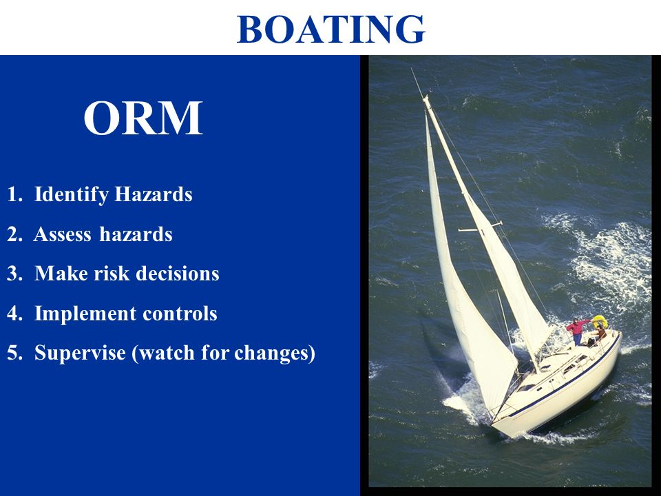 BOATING 1. Identify Hazards 2. Assess hazards 3.