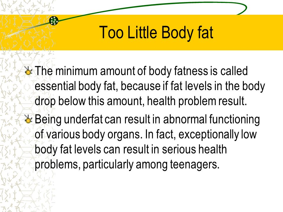 Overfat and Underfat The terms overfat and underfat are very useful because they describe how much of your total body weight is made up of fat. Underf