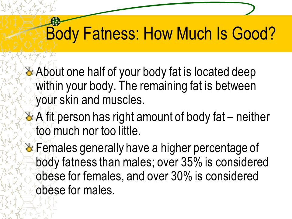 The Importance Of Body Fat Fat is an insulator; it helps your body adapt to heat and cold. Fat acts as a shock absorber; it can help protect your body