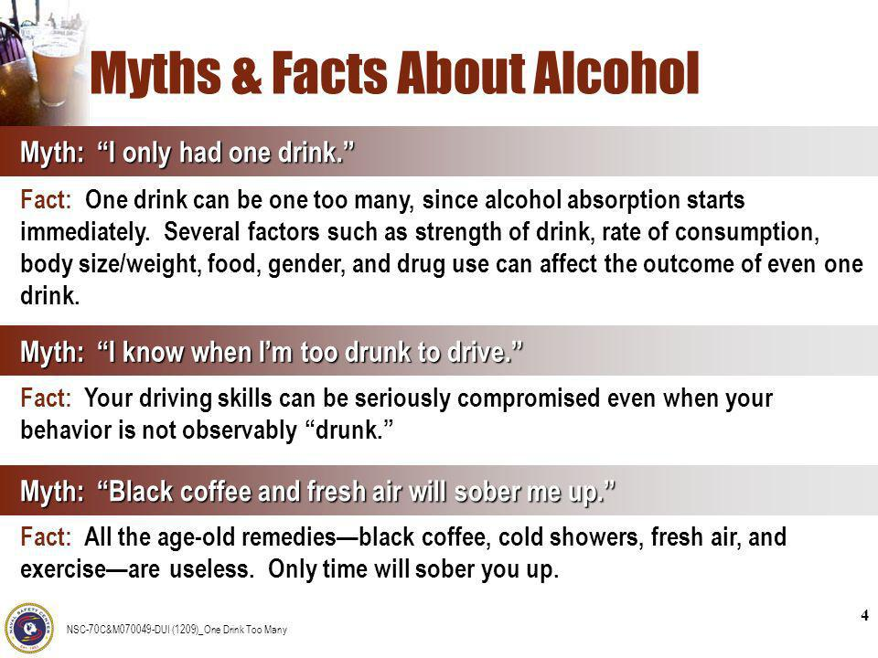 NSC-70C&M070049-DUI (1209)_One Drink Too Many 4 Myths & Facts About Alcohol Myth: I know when Im too drunk to drive. Fact: Your driving skills can be