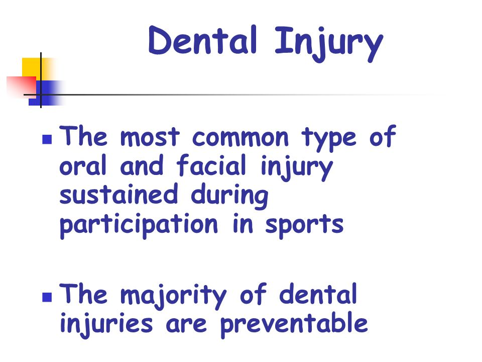 Dental Injury The most common type of oral and facial injury sustained during participation in sports The majority of dental injuries are preventable