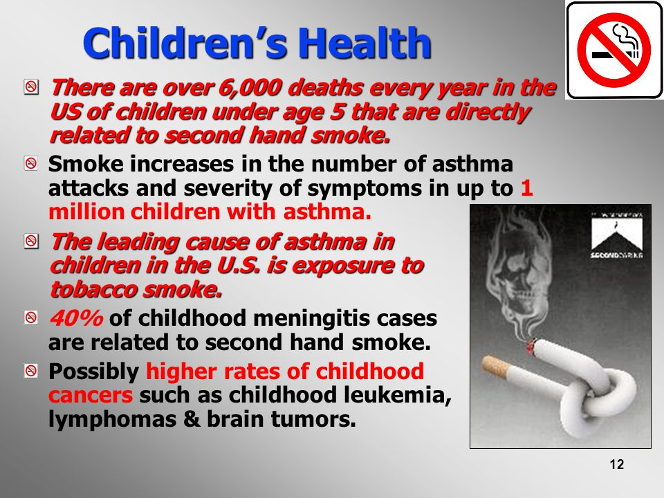 12 Childrens Health There are over 6,000 deaths every year in the US of children under age 5 that are directly related to second hand smoke. Smoke inc