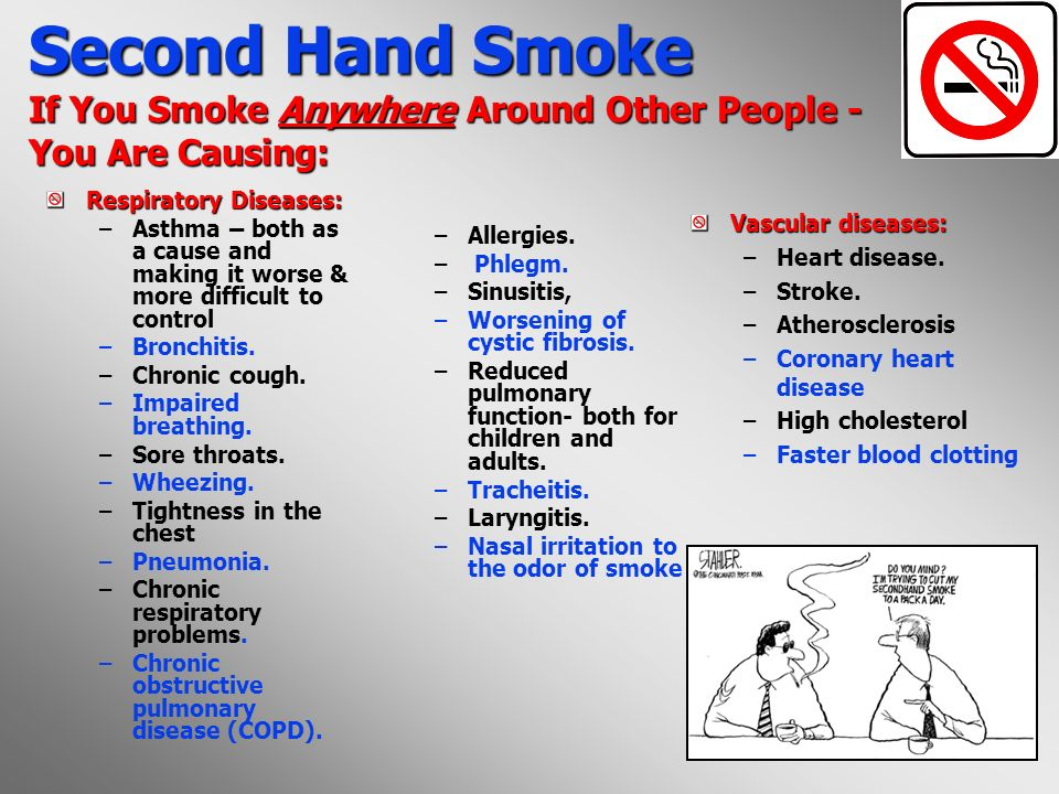 6 Second Hand Smoke If You Smoke Anywhere Around Other People - You Are Causing : Cancer: –Sinus Cancer.