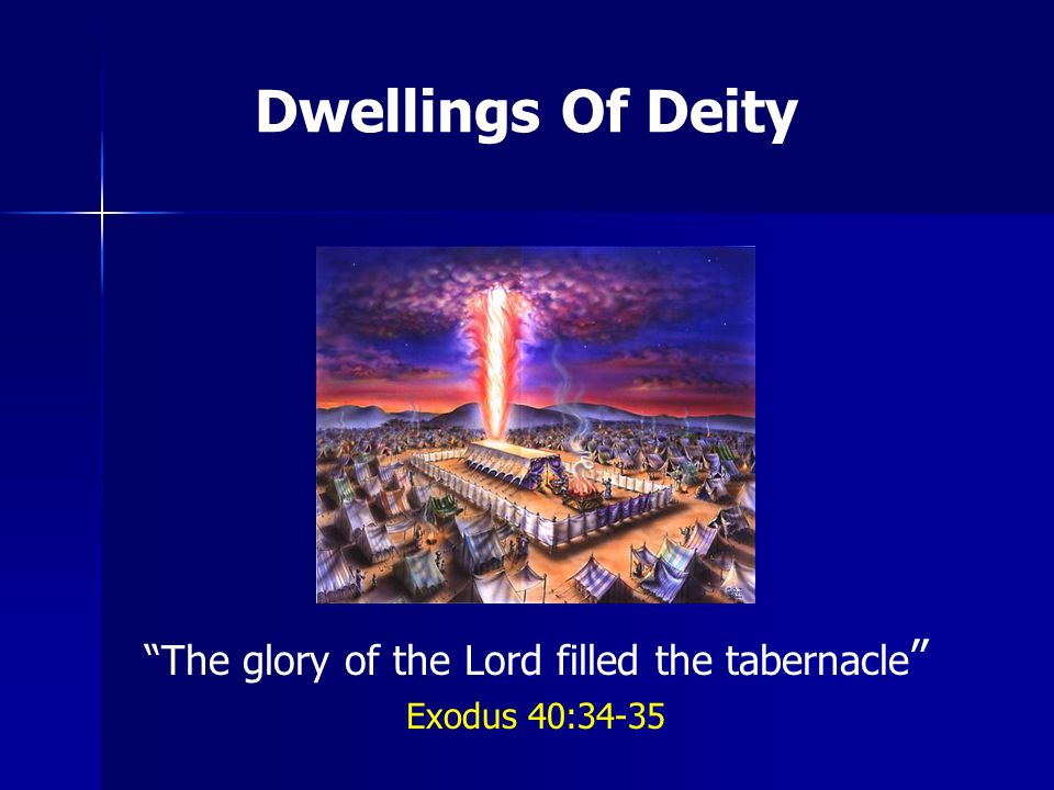 Dwellings of Gods presence...1. 1.The tabernacle in the wilderness Exo 40:34-35 2.