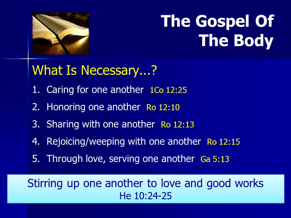 What Is Necessary.... 1. 1.Caring for one another 1Co 12:25 2.