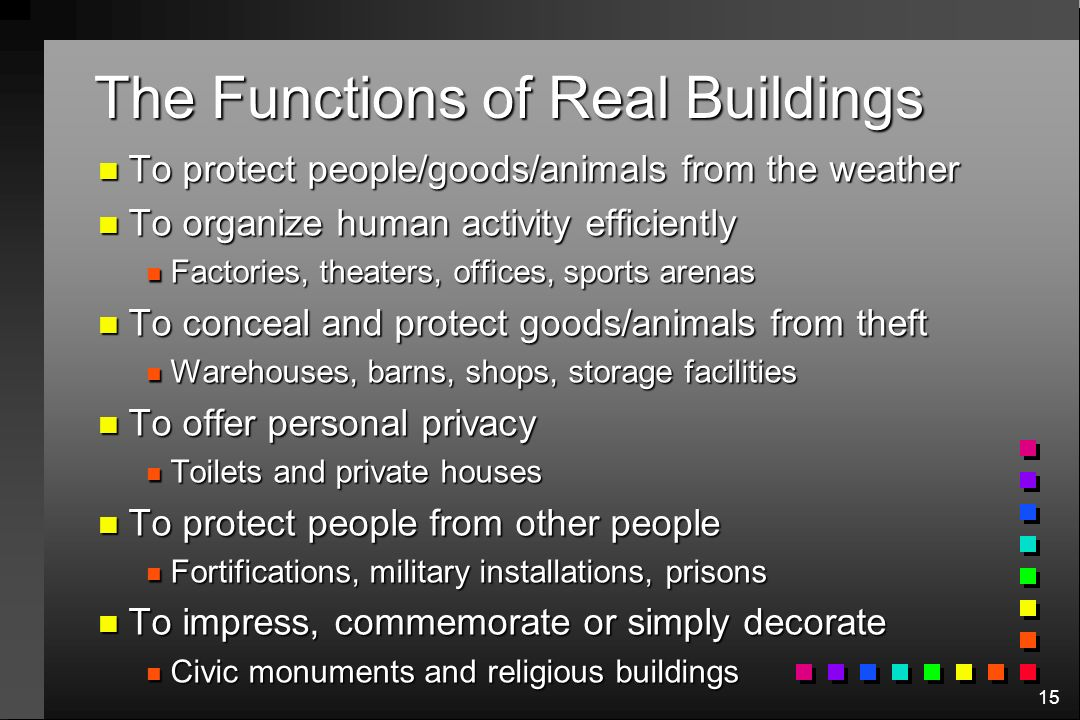 15 The Functions of Real Buildings n To protect people/goods/animals from the weather n To organize human activity efficiently n Factories, theaters, offices, sports arenas n To conceal and protect goods/animals from theft n Warehouses, barns, shops, storage facilities n To offer personal privacy n Toilets and private houses n To protect people from other people n Fortifications, military installations, prisons n To impress, commemorate or simply decorate n Civic monuments and religious buildings