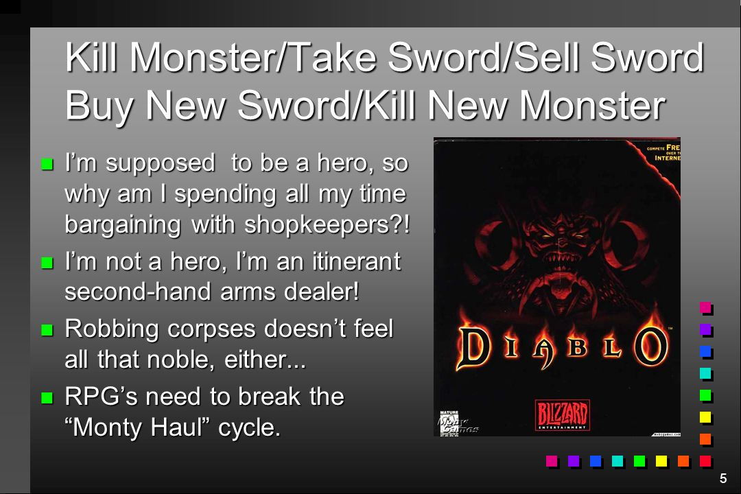 5 Kill Monster/Take Sword/Sell Sword Buy New Sword/Kill New Monster n Im supposed to be a hero, so why am I spending all my time bargaining with shopk