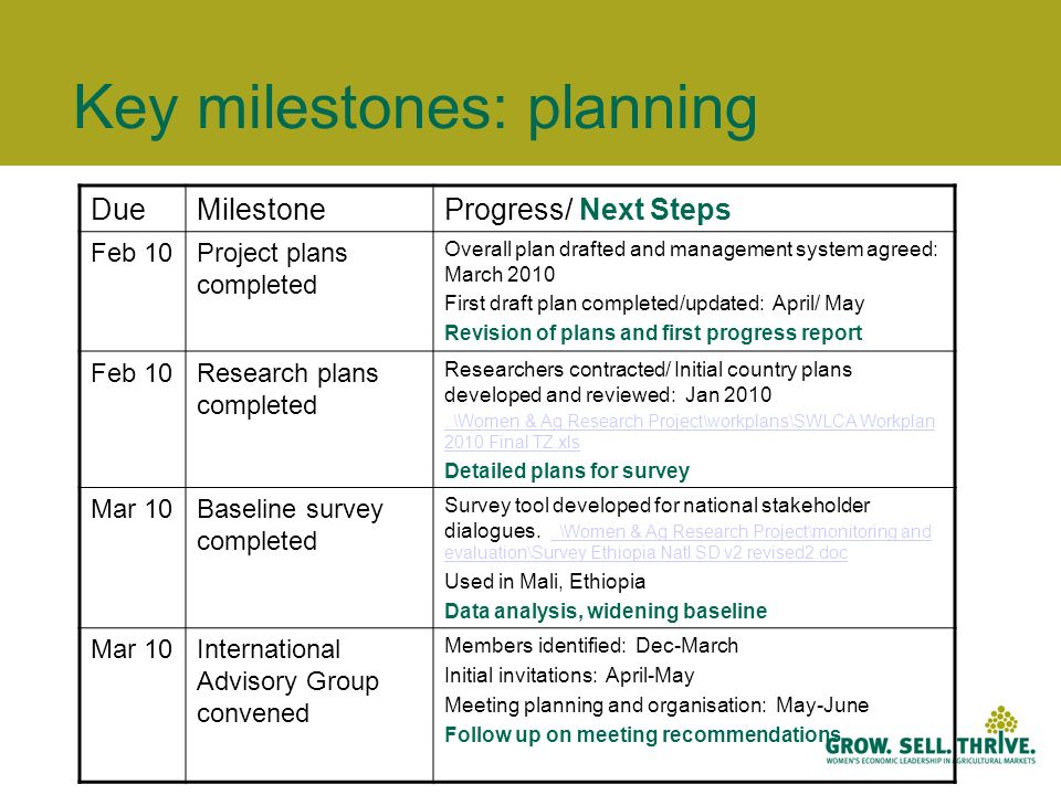 Key milestones: planning DueMilestoneProgress/ Next Steps Feb 10Project plans completed Overall plan drafted and management system agreed: March 2010 First draft plan completed/updated: April/ May Revision of plans and first progress report Feb 10Research plans completed Researchers contracted/ Initial country plans developed and reviewed: Jan \Women & Ag Research Project\workplans\SWLCA Workplan 2010 Final TZ.xls Detailed plans for survey Mar 10Baseline survey completed Survey tool developed for national stakeholder dialogues...\Women & Ag Research Project\monitoring and evaluation\Survey Ethiopia Natl SD v2 revised2.doc..\Women & Ag Research Project\monitoring and evaluation\Survey Ethiopia Natl SD v2 revised2.doc Used in Mali, Ethiopia Data analysis, widening baseline Mar 10International Advisory Group convened Members identified: Dec-March Initial invitations: April-May Meeting planning and organisation: May-June Follow up on meeting recommendations