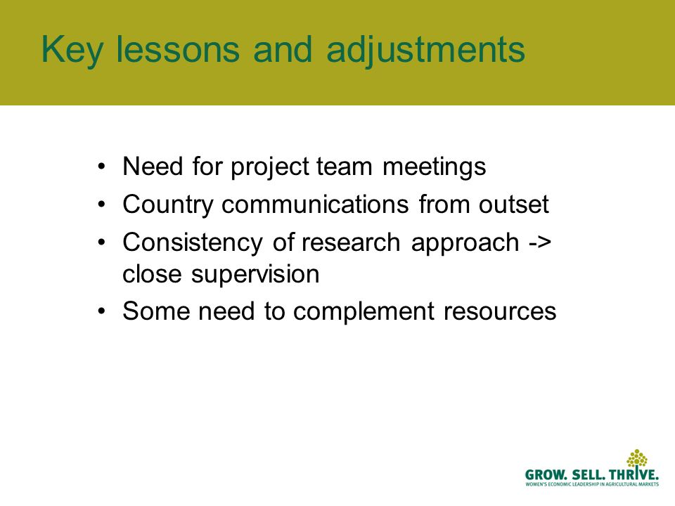 Key lessons and adjustments Need for project team meetings Country communications from outset Consistency of research approach -> close supervision Some need to complement resources